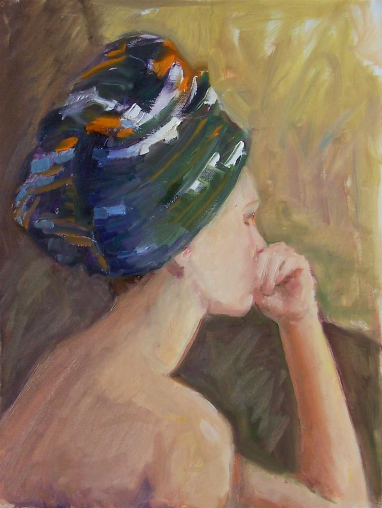 """oil sketch of Alethea,portrait,oil on canvas pad,16x12,priceNFS"" original fine art by Joy Olney"