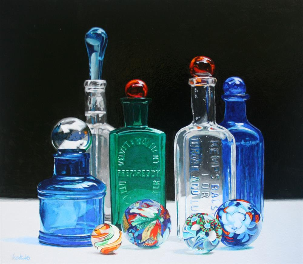 """Antique Bottles"" original fine art by Setsuko Lawson"