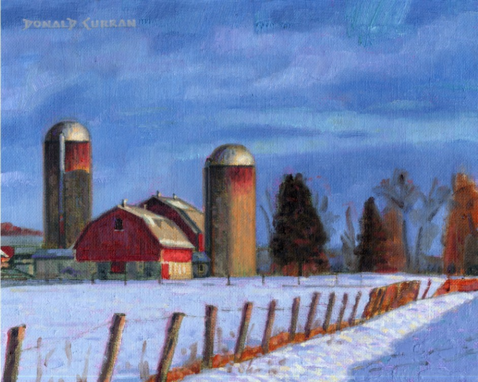 """Winter Farm Scene"" original fine art by Donald Curran"