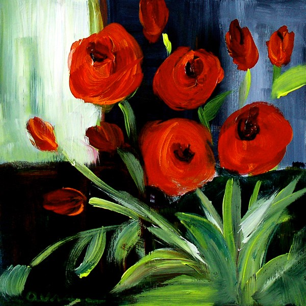 """Red Flowers"" original fine art by Anna Vreman"