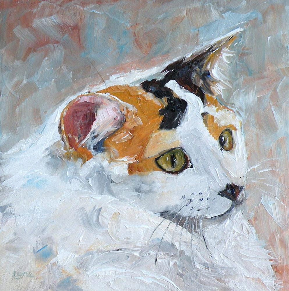 """SOFT KITTY ORIGINAL 4X4 OIL ON TEXTURED PANEL FOR ETSY © SAUNDRA LANE GALLOWAY"" original fine art by Saundra Lane Galloway"