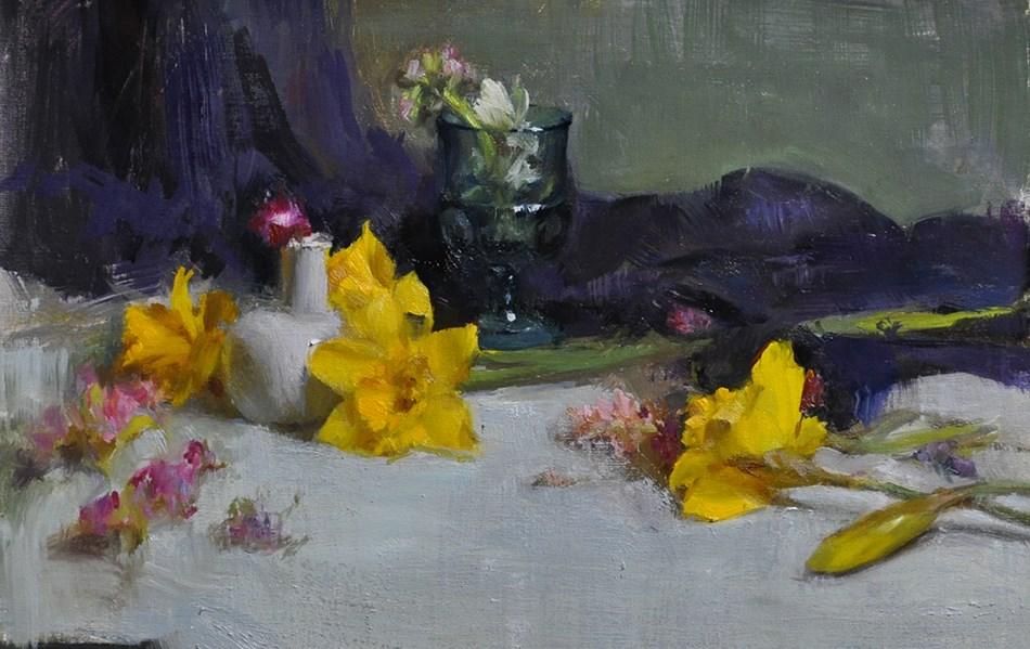 """spring daffodils"" original fine art by Taisia Kuklina"