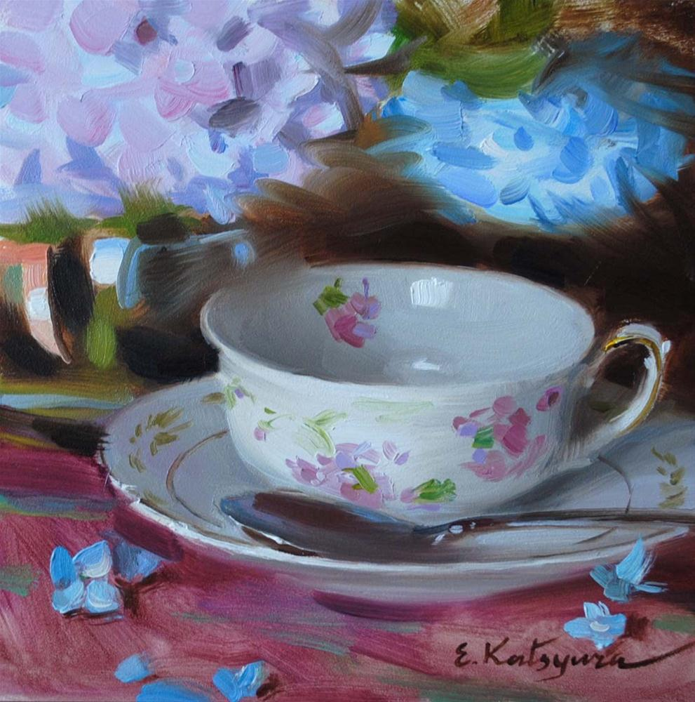 """Teacup and Hydrangea"" original fine art by Elena Katsyura"