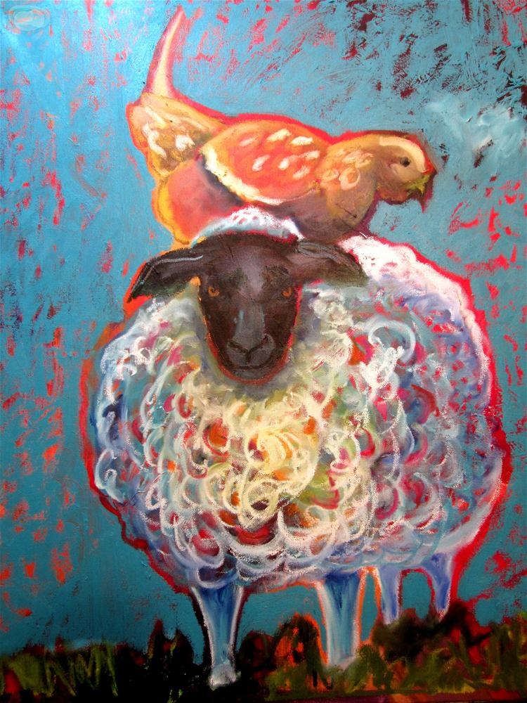 """Bemused Sheep With a Chicken On Her Head"" original fine art by Shelly Penko"
