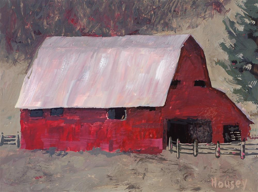 """Red Barn"" original fine art by Bruce Housey"