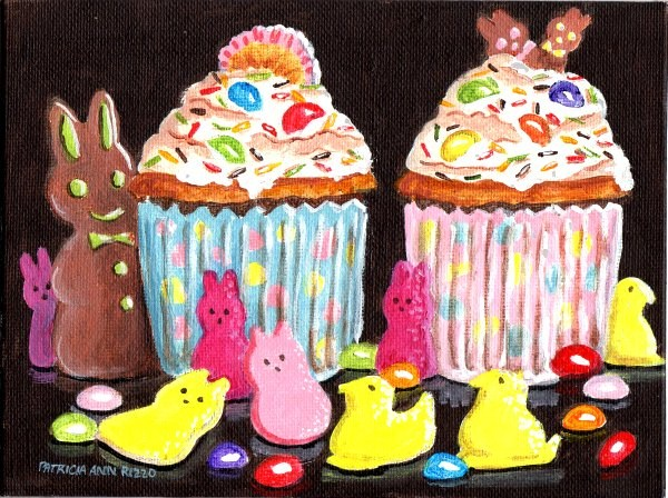 """Easter Cupcakes for Two"" original fine art by Patricia Ann Rizzo"