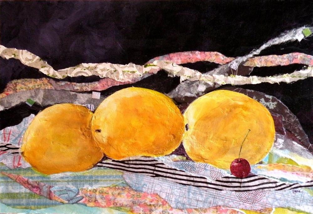 """STUDIO SALE THREE LEMONS AND A CHERRY ORIGINAL MIXED MEDIA PAINTING OF LEMONS AND CHERRY © SA"" original fine art by Saundra Lane Galloway"