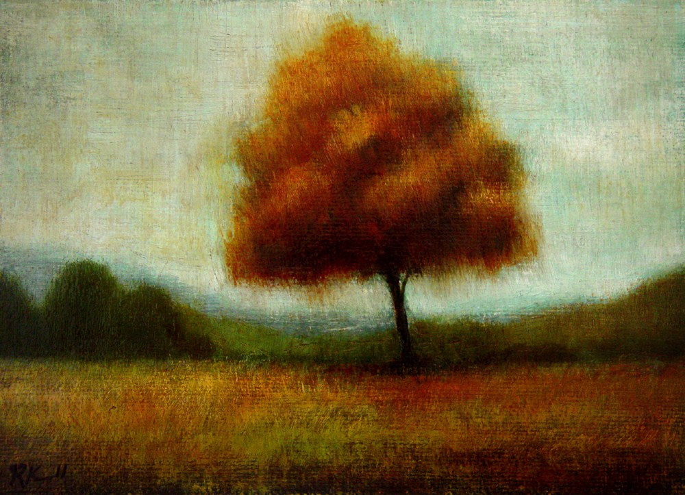 """Lone Red Tree"" original fine art by Bob Kimball"