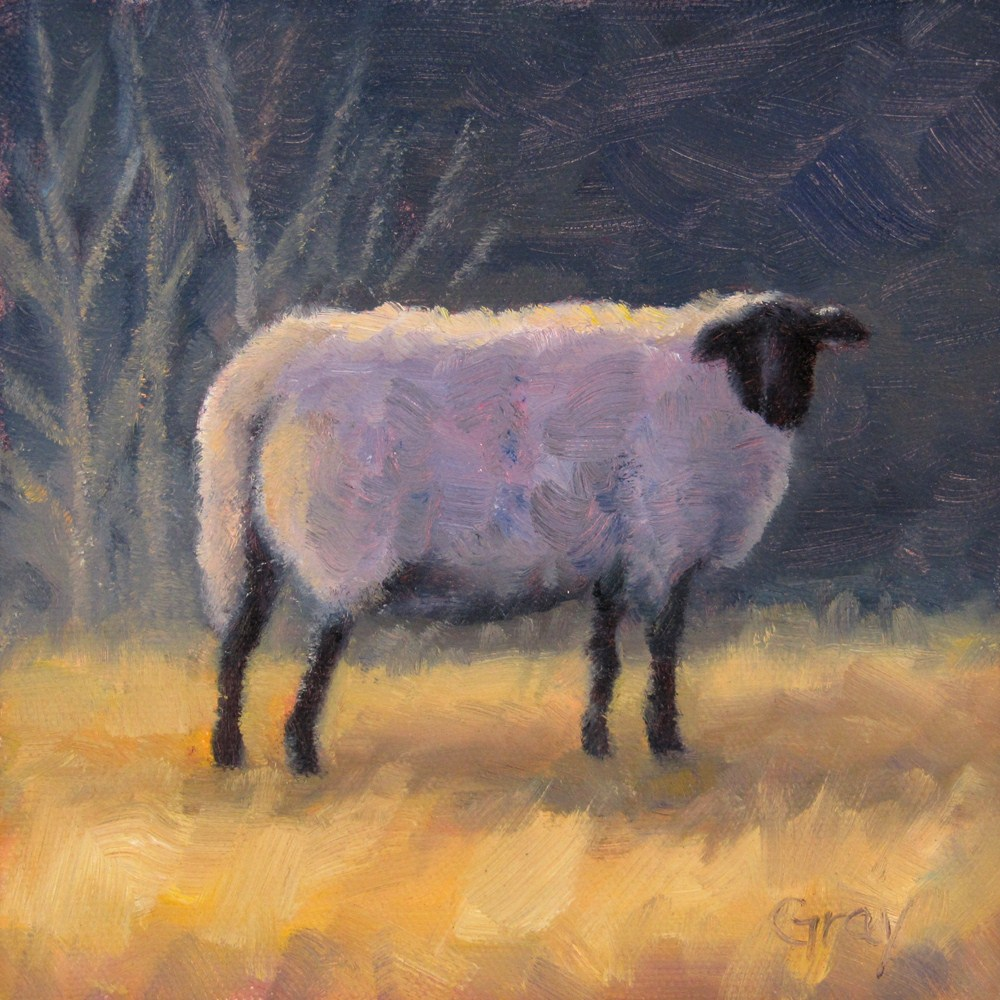 """Winter Sheep"" original fine art by Naomi Gray"