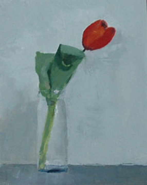 """ONE TULIP"" original fine art by Linda Popple"