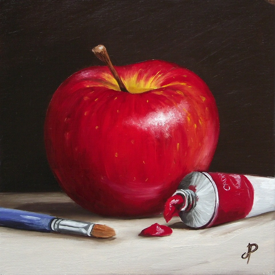 """Painting my Apple"" original fine art by Jane Palmer"