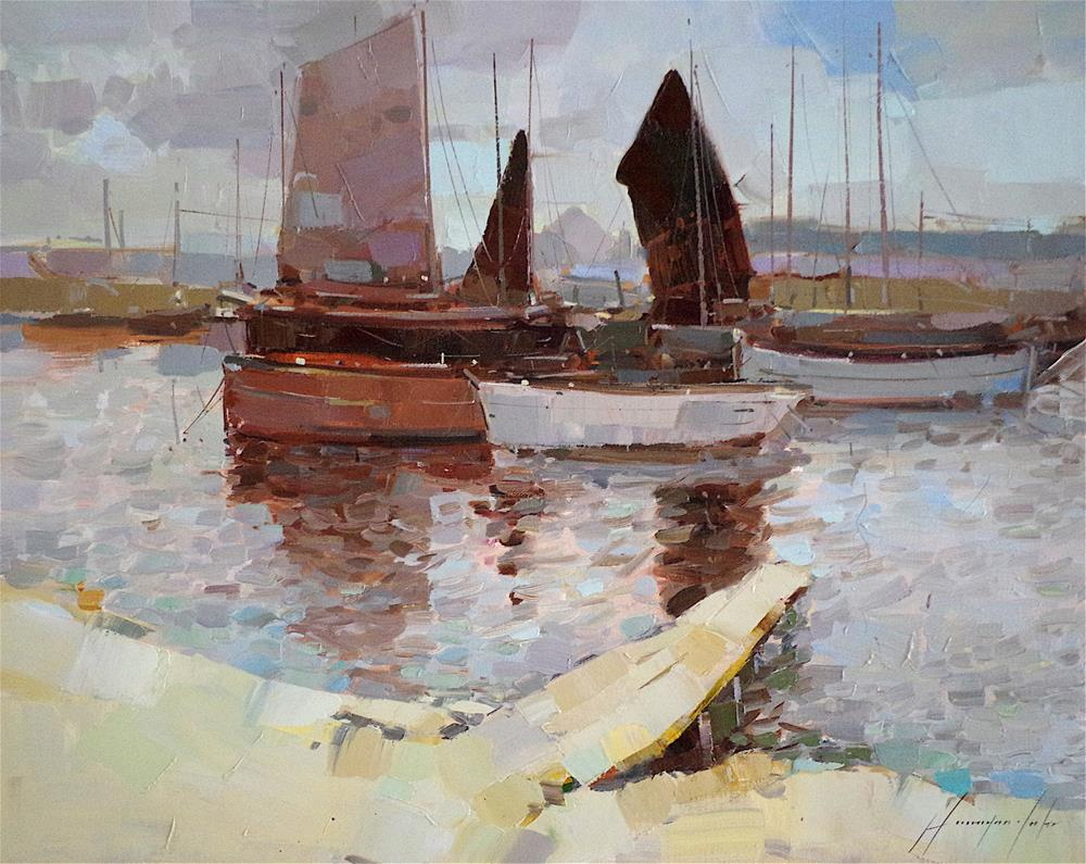 """Sail Boats, Harbor, Original oil Painting, Handmade art, One of a Kind"" original fine art by V Y"