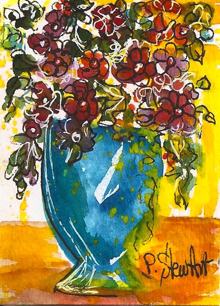 """ACEO Folk Art Flowers - Sunshine Watercolor and Pen, Original, Not a print"" original fine art by Penny Lee StewArt"