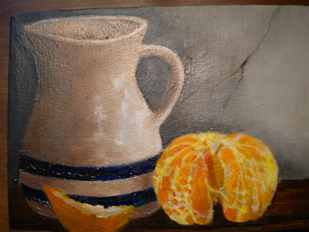 """Pitcher and Orange"" original fine art by Hilarie Johnson"