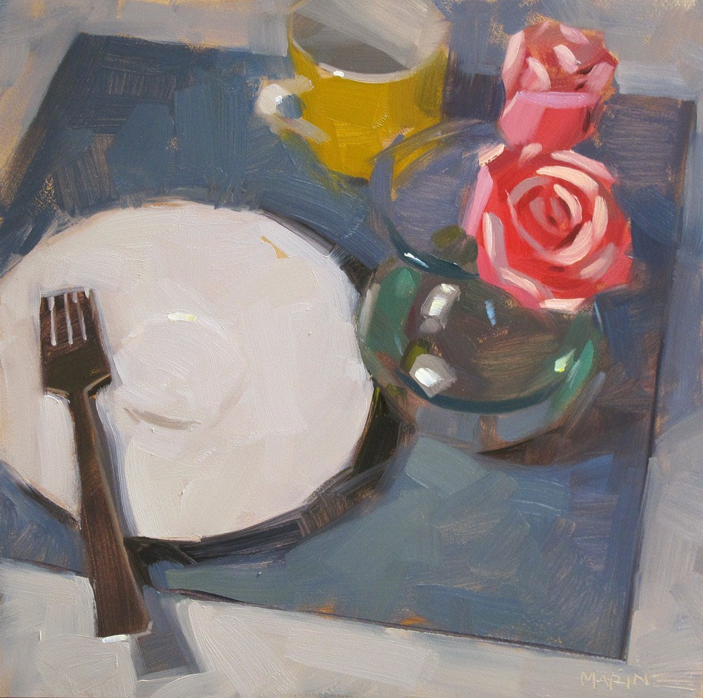 """Table Set For One"" original fine art by Carol Marine"