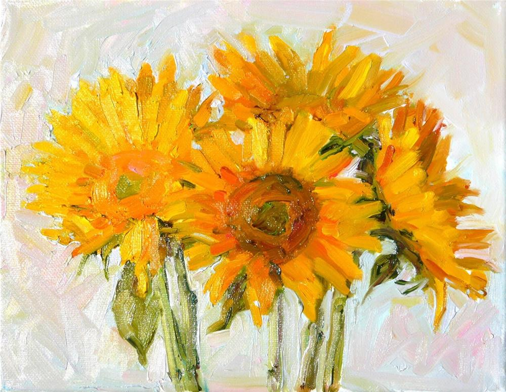 """Today's Sunflowers,still life,oil on canvas,8x10.price$200"" original fine art by Joy Olney"