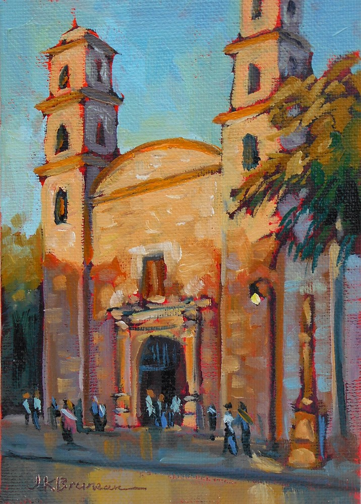 """Church in Centro, Merida"" original fine art by Jeanne Bruneau"