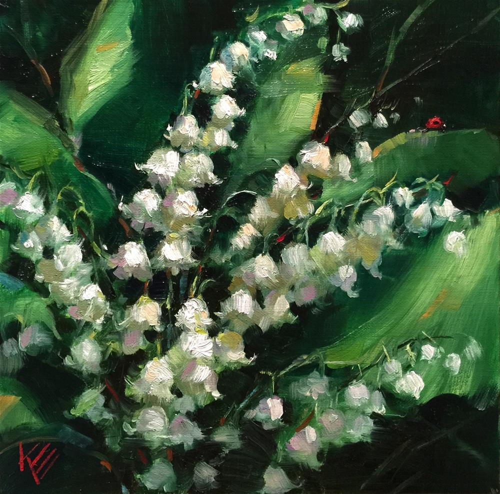 """Lily of the Valley"" original fine art by Krista Eaton"