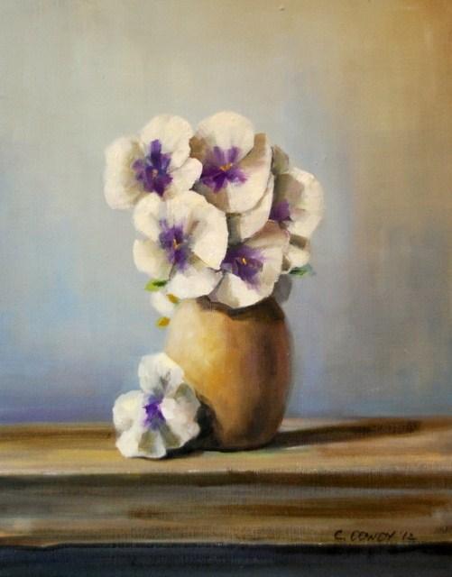 """White Pansies"" original fine art by Christina Dowdy"