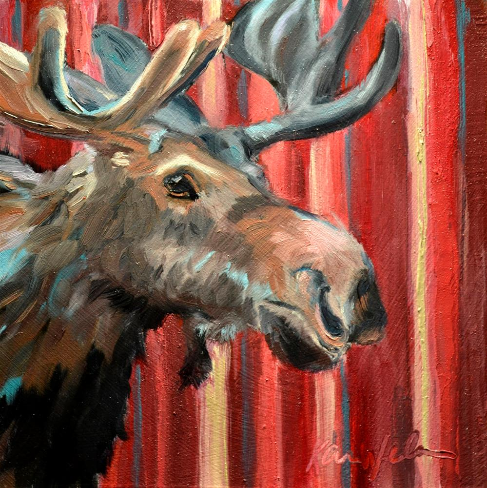 """The Moose is Loose"" original fine art by Karen Weber"