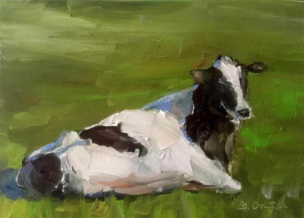 """Basking Cow"" original fine art by Gary Bruton"