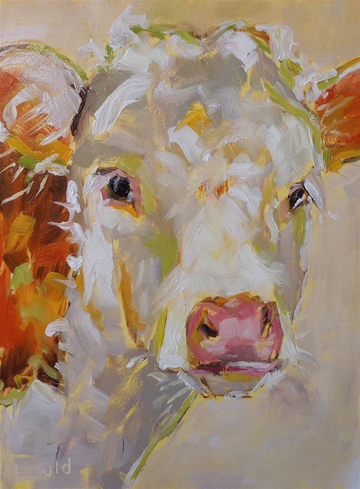 """Cow 70 Solid 2"" original fine art by Jean Delaney"