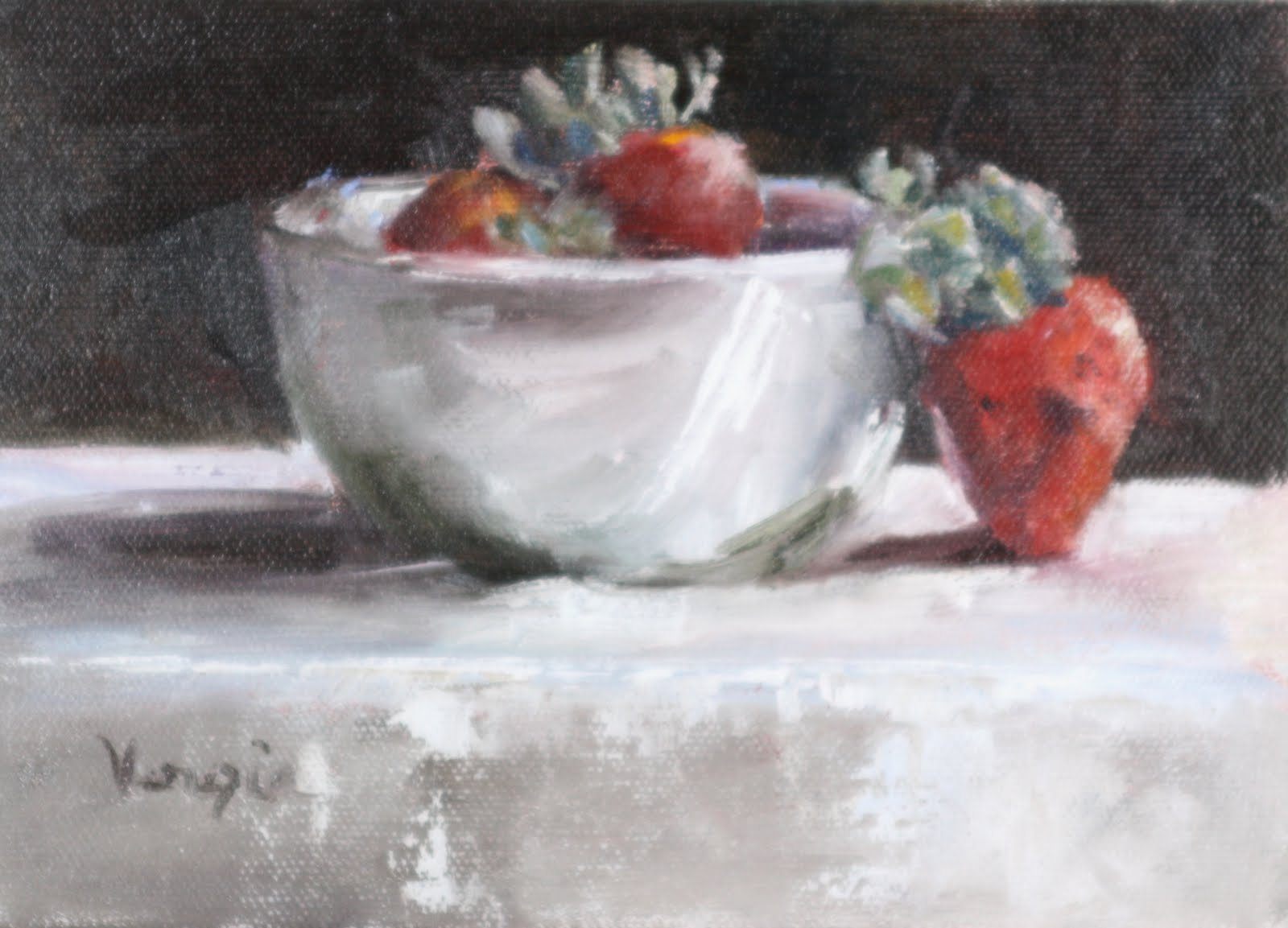 """Oil Painting Still Life with White Bowl and Strawberries"" original fine art by Carrie Venezia"
