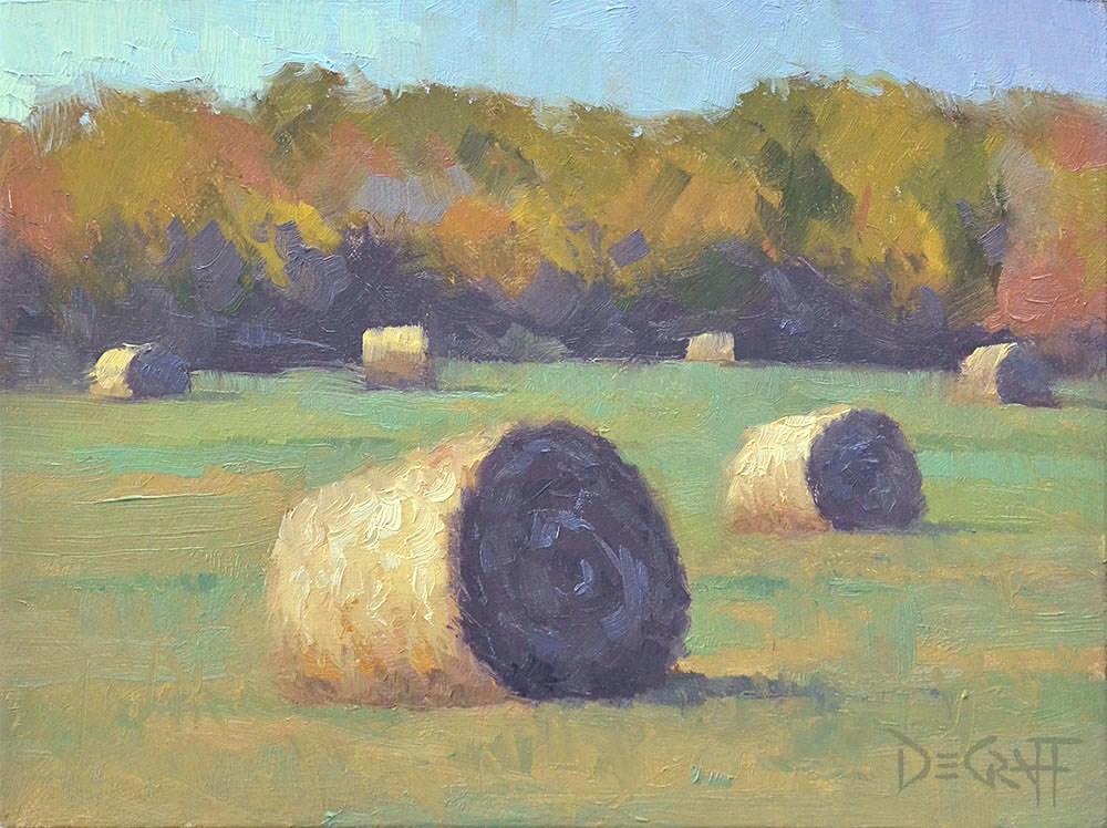"""Hay Bales"" original fine art by Larry DeGraff"