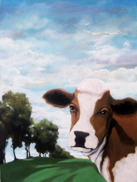 """Moo'vin On - large country scene"" original fine art by Linda Apple"