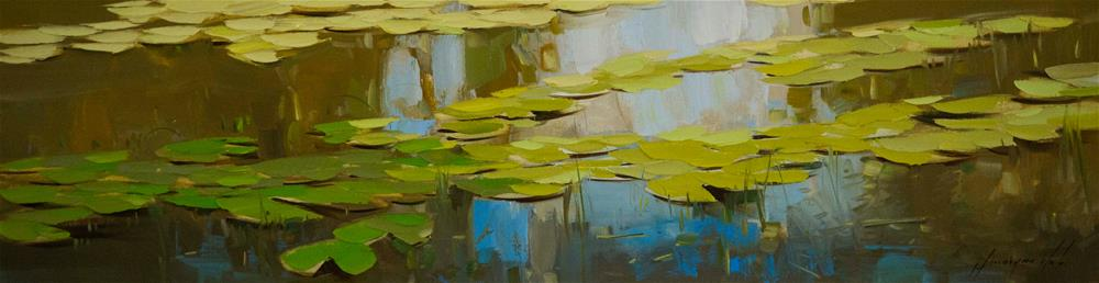 """Water Lilies Original oil Painting One of a Kind"" original fine art by V Y"
