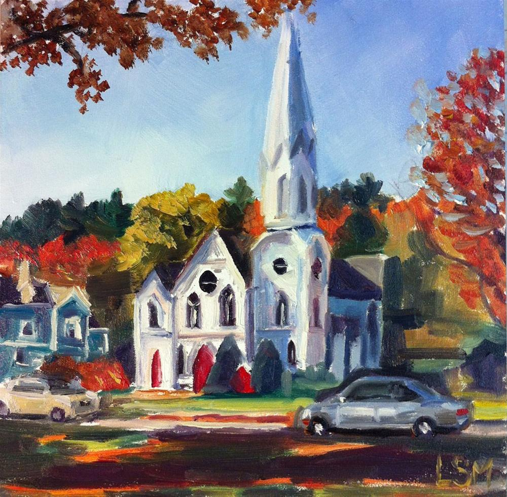 """White Steeple"" original fine art by Linda Marino"