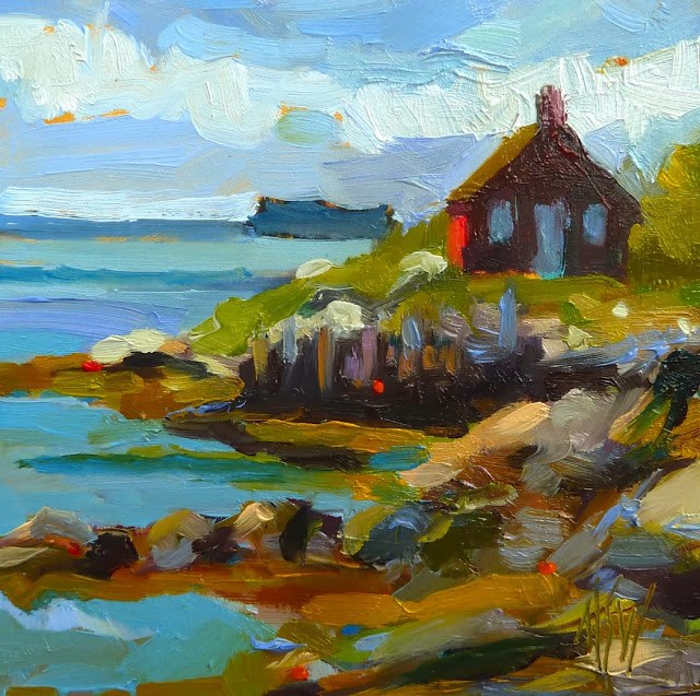 """Maine Fish House 4x4 oil on gesso board. Inspired by a visit to coastal Maine. I just love it there!!"" original fine art by Mary Sheehan Winn"