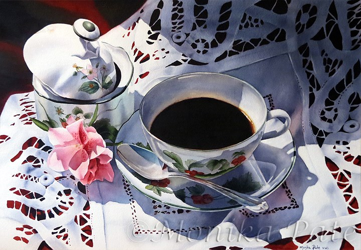 """Sunday Coffee"" original fine art by Monika Pate"