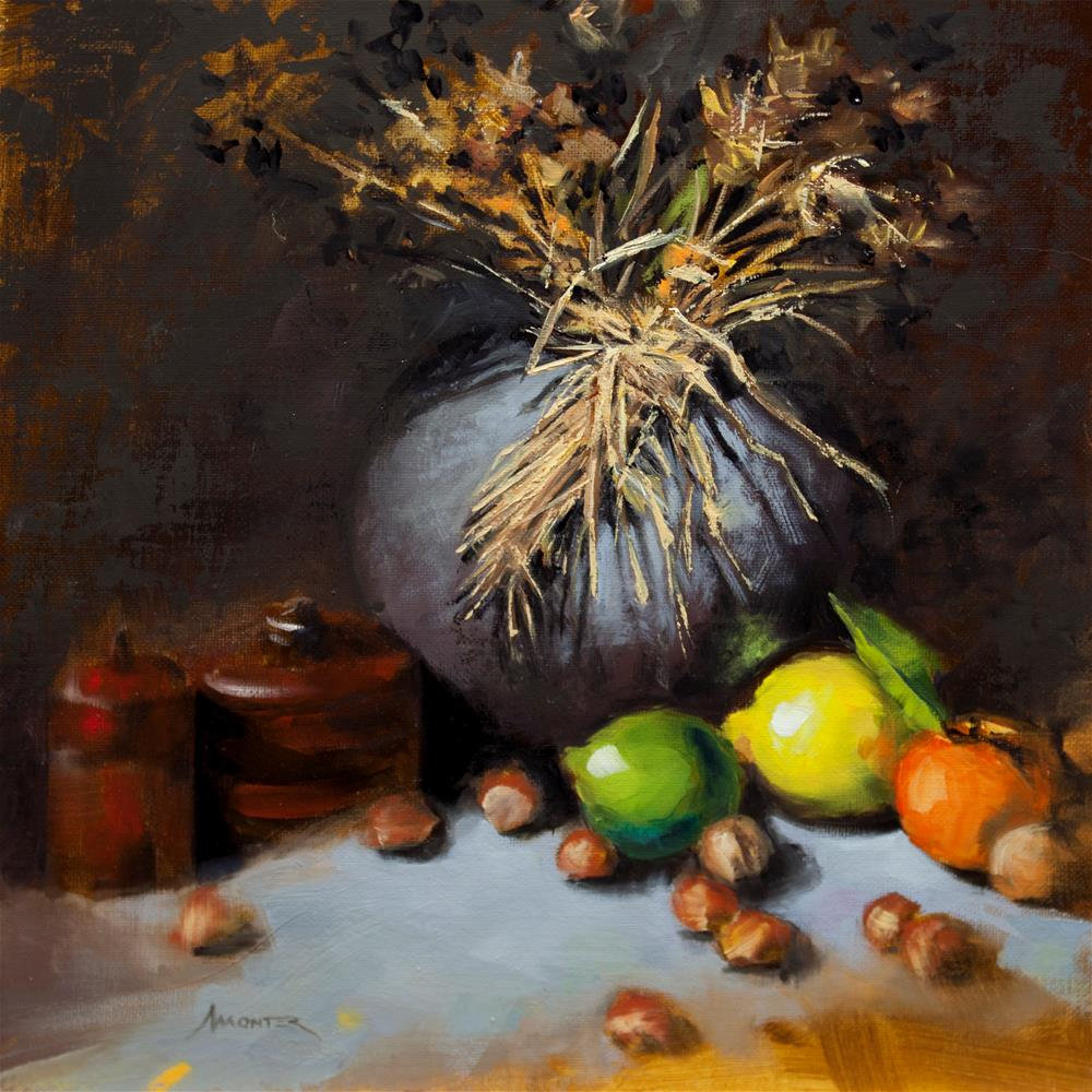 """Grey vase, morrocan boxes and fruits"" original fine art by Thierry Monter"