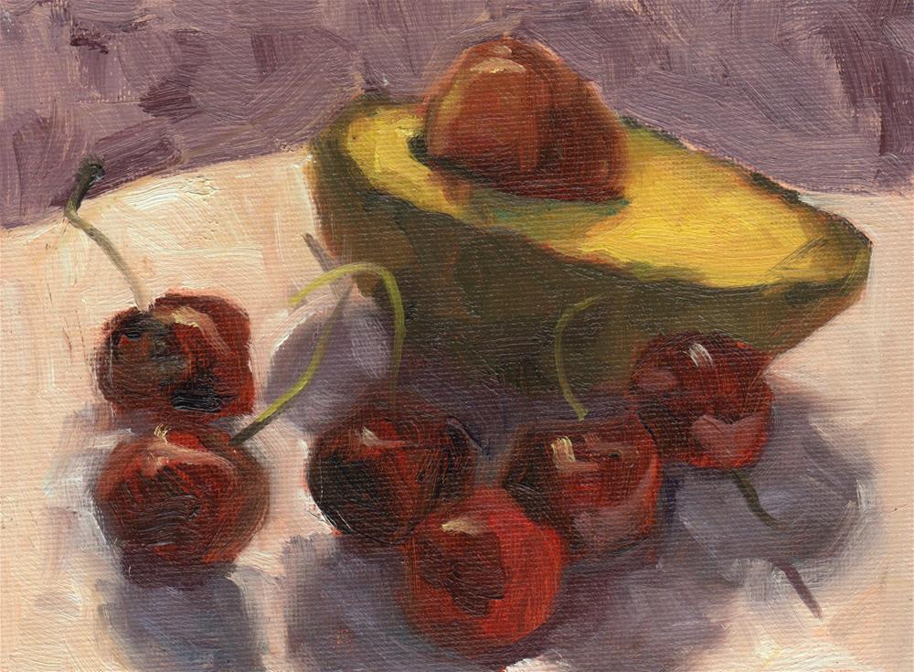 """""""Avocado & Cherries"""" original fine art by Marlene Lee"""