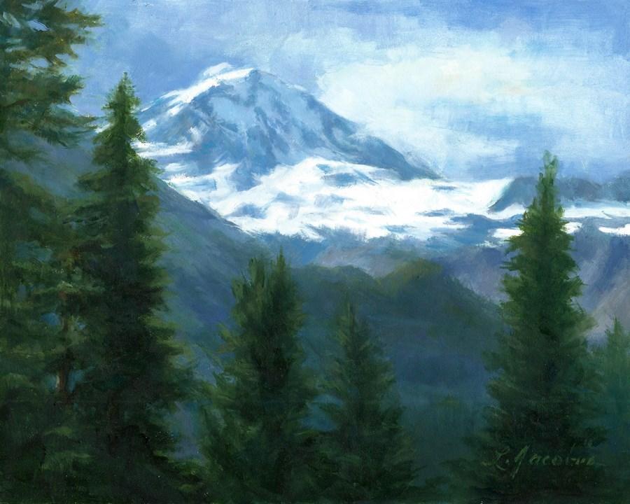 """""""Mt Rainier"""" original fine art by Linda Jacobus"""