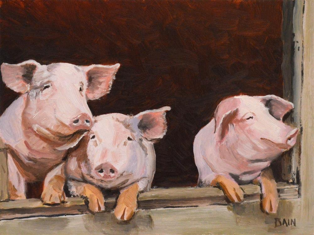 """Little Pigs"" original fine art by Peter Bain"
