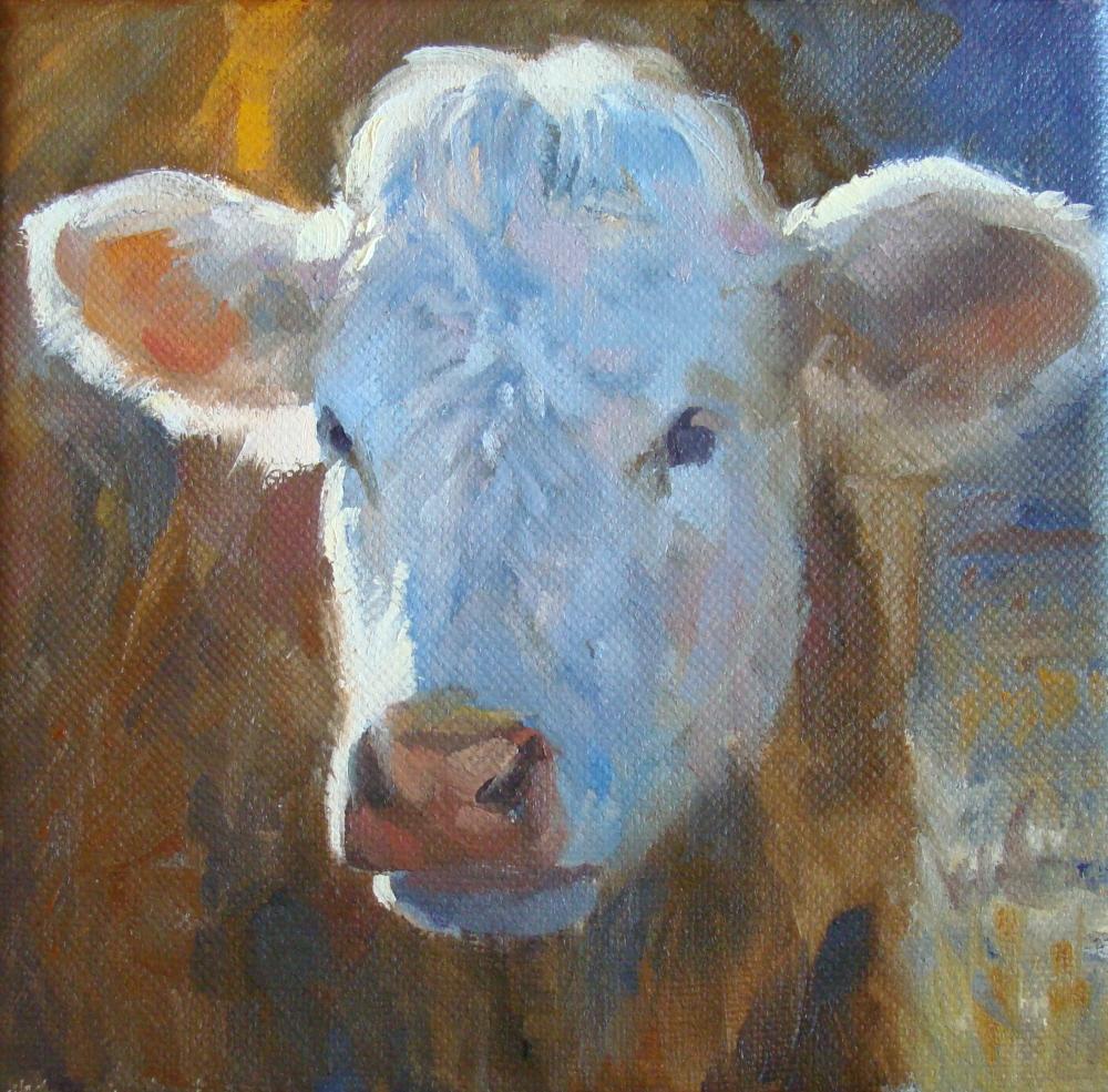 """""""Little Hereford"""" original fine art by Trish Stevenson"""
