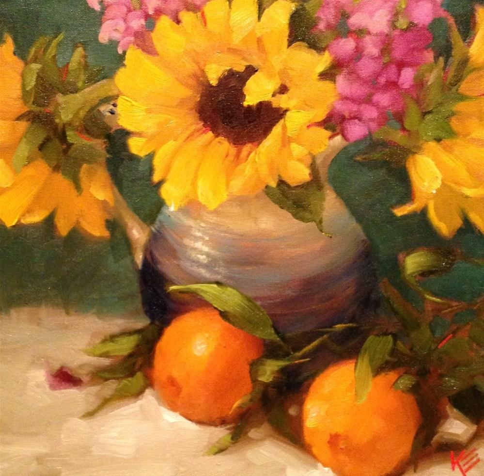"""Sunflowers & Oranges"" original fine art by Krista Eaton"