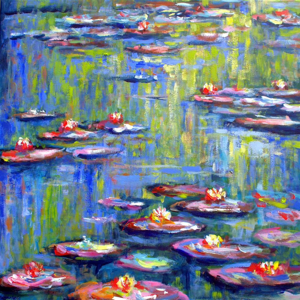"""""""Waterlilies in Monet's garden"""" original fine art by Wim Van De Wege"""