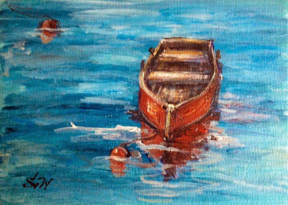"""Red boat painting"" original fine art by Sonia von Walter"