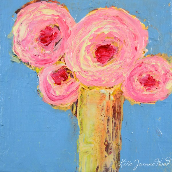 """Pink and Blue Roses Flower Series No 42"" original fine art by Katie Jeanne Wood"