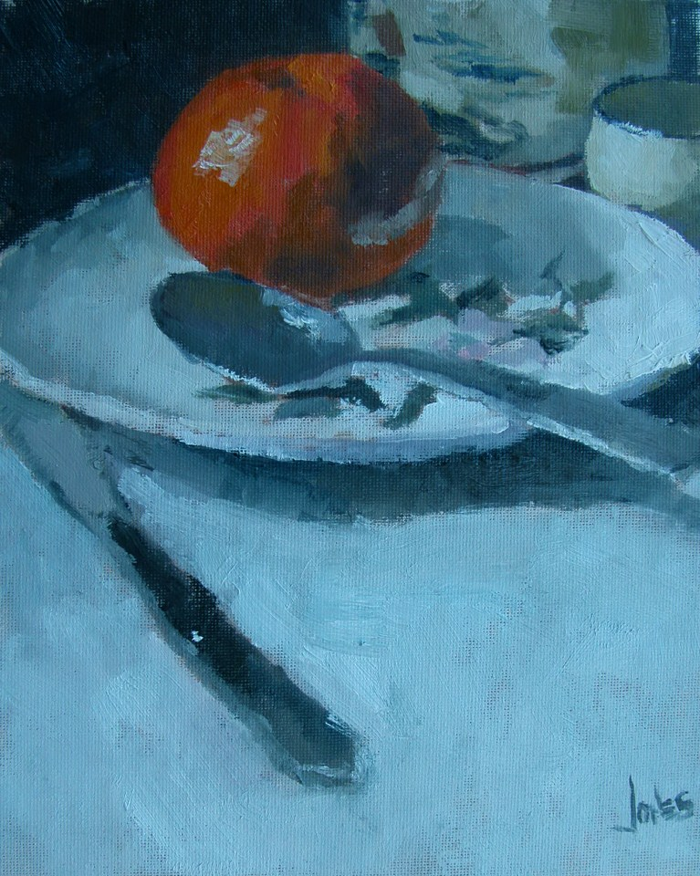 """Tangerine on a Plate"" original fine art by Richard Jones"