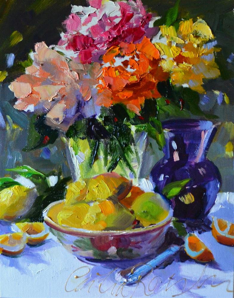 """LEMONS AND ROSES"" original fine art by Cecilia Rosslee"