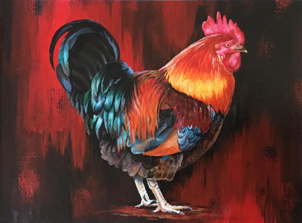 """Rooster Dan"" original fine art by Susan McConnell Moreno"