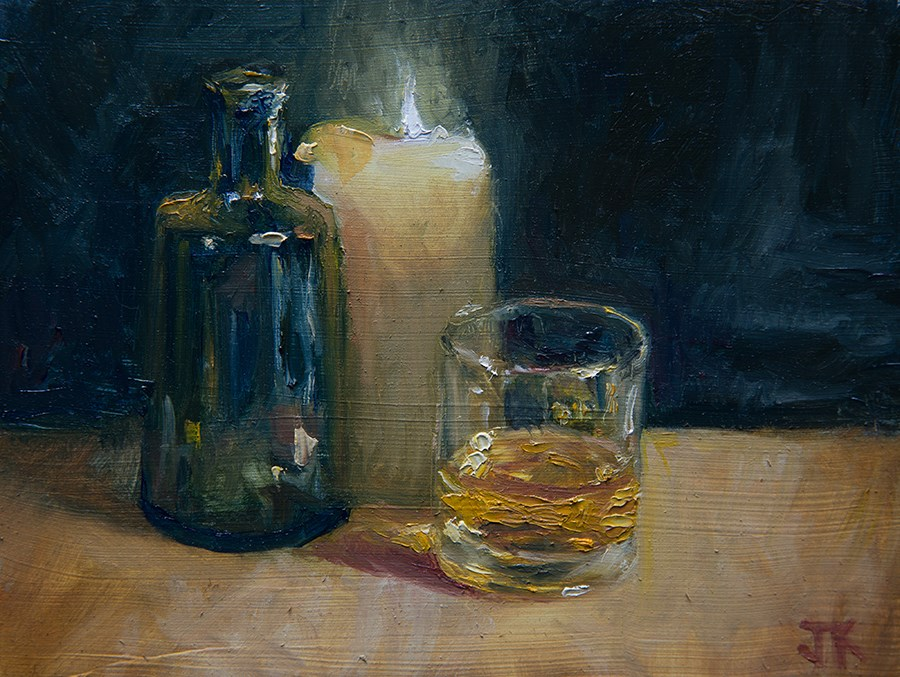 """Candlelight Whiskey"" original fine art by Jethro Knight"