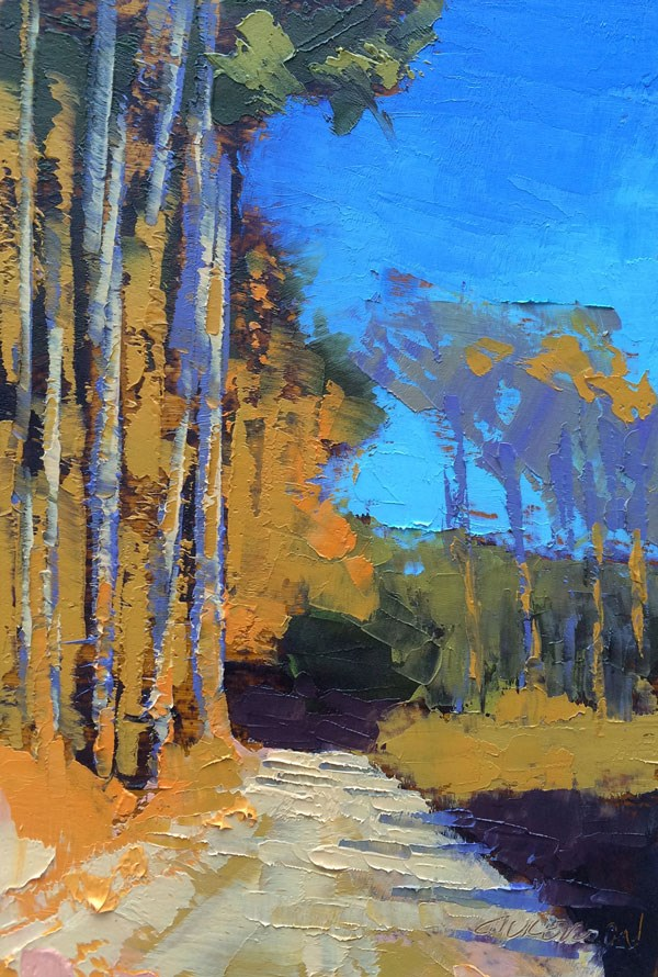 """Tall Pines, Winter"" original fine art by Mary Gilkerson"