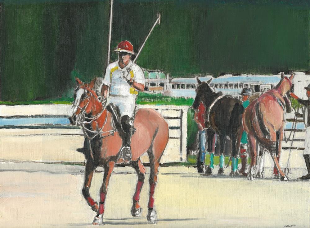 """The Polo Player (12 x 16 oil on canvas paper - no frame)"" original fine art by Ramon DelRosario"
