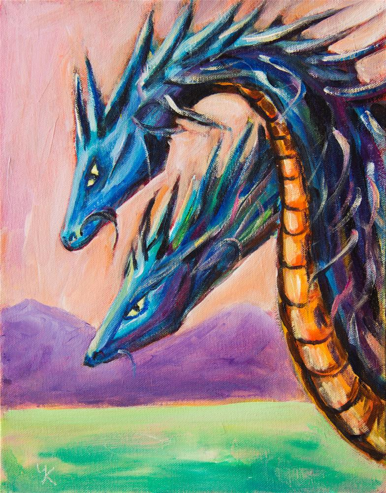"""Blue Dragons"" original fine art by Yulia Kazansky"