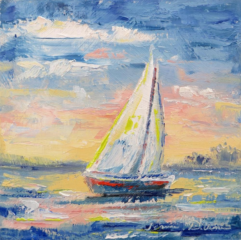 """Sunrise Sailboat - palette knife"" original fine art by Tammie Dickerson"